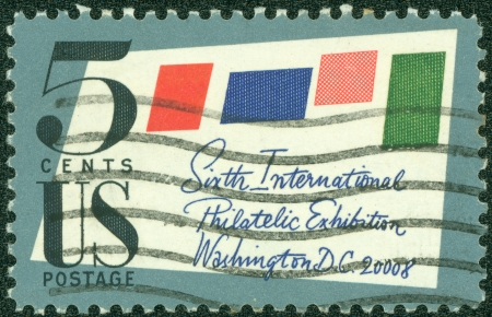 philately: UNITED STATES OF AMERICA - CIRCA 1966  a stamp printed in the United States of America shows Stamped Cover, 6th International Philately Exhibition, Washington D C , circa 1966