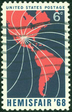 UNITED STATES OF AMERICA - CIRCA 1968   Stamps printed in USA honoring Hemisfair 68, circa 1968