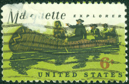 marquette: USA - CIRCA 1968  A Stamp printed in USA shows a Father Marquette  1637-1675 , French Jesuit missionary, and Louis Jolliet exploring the Mississippi, circa 1968 Editorial