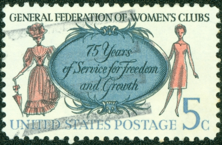 UNITED STATES - CIRCA 1966  A stamp printed in the United States shows Women of 1890 and 1966, General Federation of Womens Clubs, circa 1966 Stock Photo - 14144440