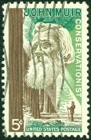 conservationist: UNITED STATES OF AMERICA - CIRCA 1964  a stamp printed in the United States of America shows John Muir, American naturalist and conservationist, circa 1964