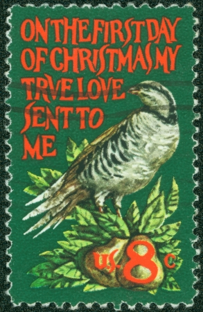 UNITED STATES - CIRCA 1971  stamp printed by United States of America, shows partridge in a pear tree, circa 1971