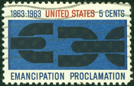 proclamation: UNITED STATES OF AMERICA - CIRCA 1963   A stamp printed in the USA shows Emancipation Proclamation, circa 1963