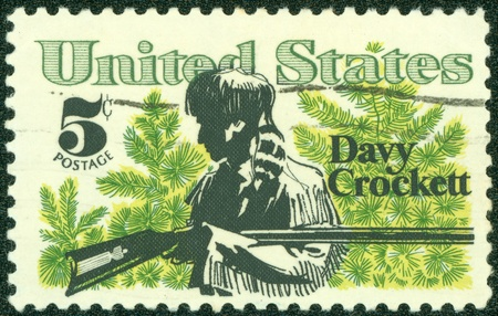 UNITED STATES - CIRCA 1967  stamp printed by United states, shows Davy Crockett and Scrub Pines, circa 1967