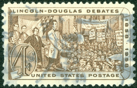 UNITED STATES OF AMERICA-CIRCA 1958  stamp printed by United States of America, shows Lincoln Douglas Debates, circa 1958