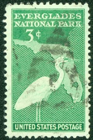 USA - CIRCA 1946  A stamp printed by USA shows the Everglades National park, circa 1946