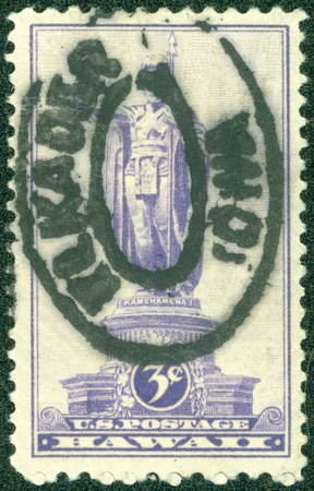 USA - CIRCA 1937  A Stamp printed in USA shows the Statue of Kamehameha I,  1758-1819 , Honolulu, first King of Hawaii, circa 1937