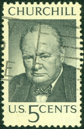 a war historian: UNITED STATES OF AMERICA - CIRCA 1973  A stamp printed in the United States shows image of former British Prime Minister Sir Winston Churchill, series, circa 1973