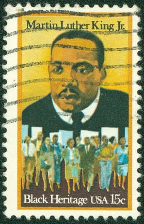 USA - CIRCA - 1979  a stamp printed in the United States of America shows Martin Luther King Jr  And civil rights marchers, Black heritage, circa 1979 Stock Photo - 14242622