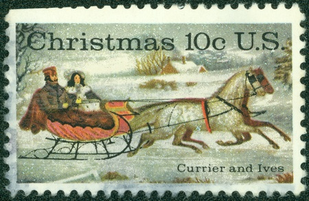 USA - CIRCA 1974  A stamp printed in USA shows  The Road-Winter  by Currier   Ives, circa 1974