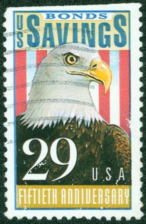USA - CIRCA 1991  A Stamp printed in USA devoted to Savings Bonds, 50th Anniv , circa 1991