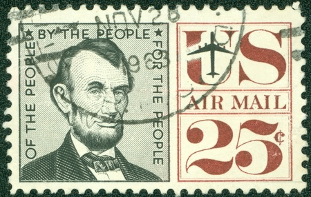 UNITED STATES - CIRCA 1959  A airmail stamp printed in United States  Old American airmail stamp showing the image of President Abraham Lincoln, series, circa 1959 Stock Photo - 14242582