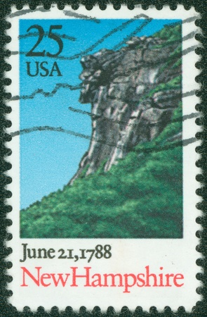 of ratification: USA - CIRCA 1988  A Stamp printed in USA shows Landscape with Cliff, New Hampshire, Ratification of the Constitution series, circa 1988