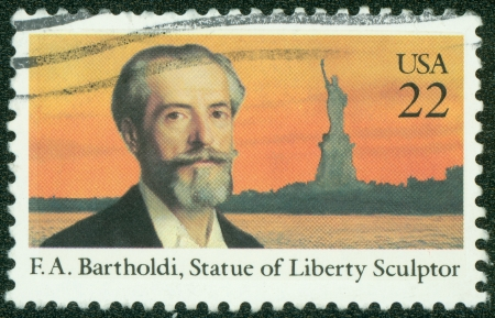 USA - CIRCA 1985  A stamp printed in the USA shows Frederic Auguste Bartholdi  1834-1904 , Statue of Liberty, circa 1985