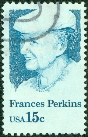 UNITED STATES OF AMERICA - CIRCA 1980  A stamp printed in USA shows Frances Perkins, 1st Woman Cabinet Member, US Secretary of Labor, circa 1980 Stock Photo - 14242572