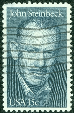 steinbeck: UNITED STATES - CIRCA 1979  A stamp printed by United states, shows John Steinbeck, circa 1979