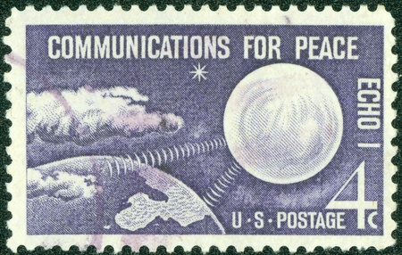 USA - CIRCA 1960  A stamp printed in the USA shows Echo I Communications for Peace, circa 1960
