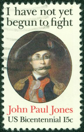 UNITED STATES OF AMERICA - CIRCA 1979  a stamp printed in the United States of America shows John Paul Jones, by Charles Wilson Peale, Naval Commander, American Revolution, circa 1979