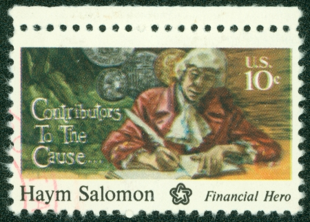 UNITED STATES - CIRCA 1975  A stamp printed in USA shows Haym Salomon, circa 1975 Stock Photo - 14242618