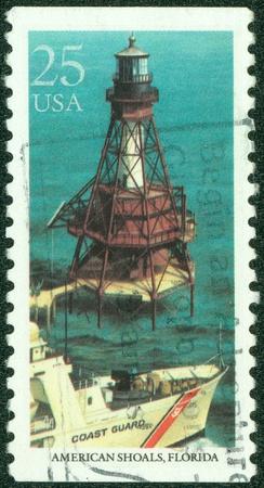 USA - CIRCA 1990  A Stamp printed in USA shows American Shoals, Florida, Lighthouses series, circa 1990