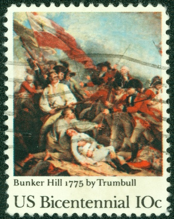 usps: UNITED STATES OF AMERICA - CIRCA 1975  A stamp printed in USA shows Bunker Hill 1775 by Trumbull, Bicentennial, circa 1975 Editorial