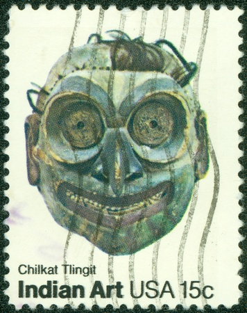 tlingit: USA - CIRCA 1980   A stamp printed in the USA shows chilkat tlingit, Indian Art, circa 1980