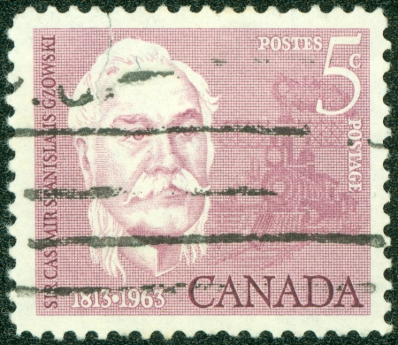 casimir: CANADA - CIRCA 1963  stamp printed by Canada, shows Sir Casimir Stanislaus Gzowski  1813- 98 , Engineer, Soldier and Educator, circa 1963