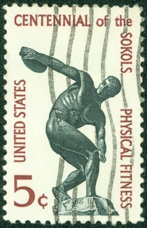 founding: UNITED STATES OF AMERICA - CIRCA 1965  a stamp printed in USA shows Discus thrower, centenary of founding Sokol, athletic organization in America, circa 1965
