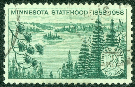 statehood: USA - CIRCA 1958  A Stamp printed in USA shows Lakes and Pines, Minnesota Statehood Centenary, circa 1958