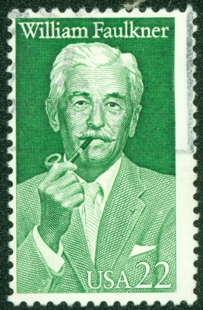 UNITED STATES OF AMERICA - CIRCA 1987   A stamp printed in USA shows writer William Cuthbert Faulkner, circa 1987 Stock Photo - 14326786