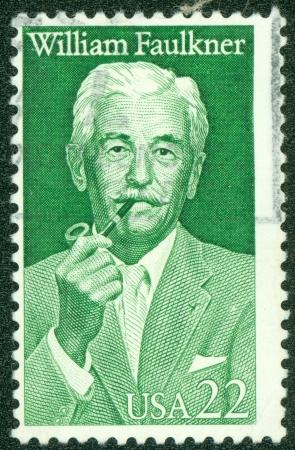 UNITED STATES OF AMERICA - CIRCA 1987   A stamp printed in USA shows writer William Cuthbert Faulkner, circa 1987 Editöryel
