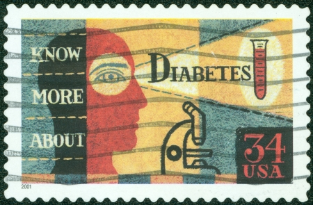 USA - CIRCA 2001  A Stamp printed in USA shows the picture about Diabetes Awareness, circa 2001 photo
