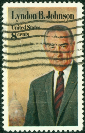 UNITED STATES - CIRCA 1973  stamp printed by United states, shows president Lyndon Johnson, circa 1973 Stock Photo - 14326783