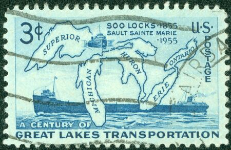 UNITED STATES - CIRCA 1955  Stamp printed by United states, shows Map of Great Lakes and Two Steamers, circa 1955 photo