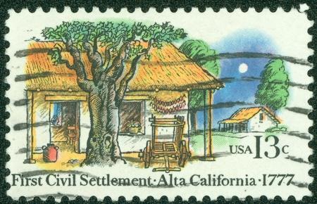 USA - CIRCA 1977  A stamp printed in USA shows the Farm Houses, 1st civil settlement in Alta California, 200th anniversary, circa 1977 photo