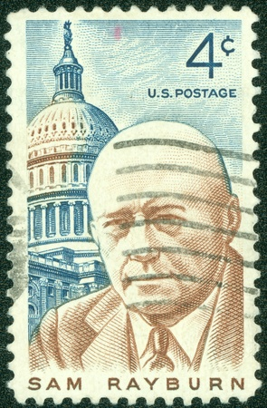 UNITED STATES - CIRCA 1962  A stamp printed in United states  USA  shows a portrait Sam Rayburn  Democratic lawmaker  with the inscription  Sam Rayburn  from the series  Sam Rayburn , circa 1962