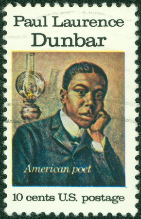 laurence: USA - CIRCA 1975   A stamp printed in the USA shows Paul Laurence Dunbar, American Poet, circa 1975