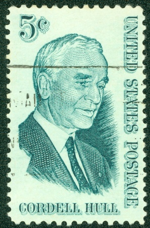 UNITED STATES OF AMERICA - CIRCA 1963  A stamp printed in the USA shows Cordell Hull, 47th US Secretary of State, 1933-1944, circa 1963 Stock Photo - 14326776