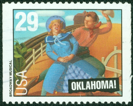 UNITED STATES - CIRCA 1993  A stamp printed by United States of America, shows heroes of musical  Oklahoma  ;, circa 1993