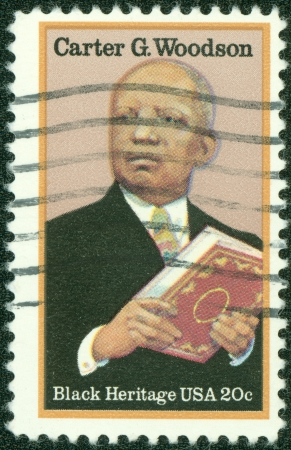 USA - CIRCA 1997  A stamp printed in USA show Carter Godwin Woodson was an African-American historian, author, journalist, black heritage, circa 1997 Stock Photo - 14326770