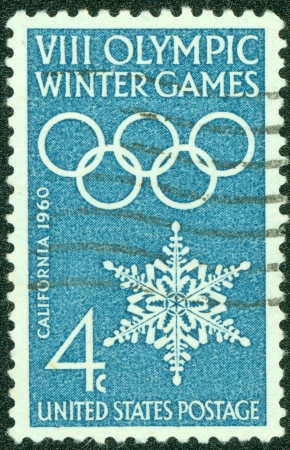 UNITED STATES - CIRCA 1960  A stamp printed in the United States hyonoring VIII winter olympic games, California, circa 1960