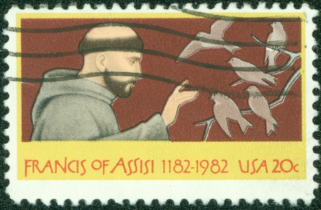 USA -CIRCA 1982  A stamp printed in USA shows a picture of Francis Assisi, circa 1982