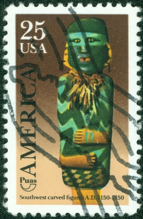 forerunner: USA - CIRCA 1989  A stamp printed in the USA, dedicated to the Pre-Columbian America Issue, shows the Southwest Carved Figure, circa 1989 Stock Photo