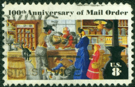 mail order: USA - CIRCA 1972  A Stamp printed in USA shows the Rural Post Office Store, Mail Order Issue, circa 1972 Stock Photo