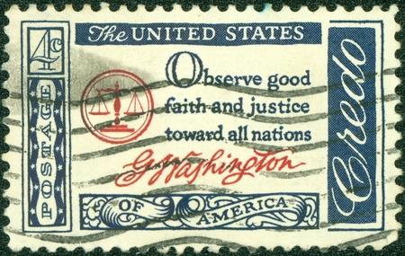 credo: USA - CIRCA 1960   A postcard printed in the USA with text  Observe good faith and justice toward all nations, G Washington - American Credo, circa 1960