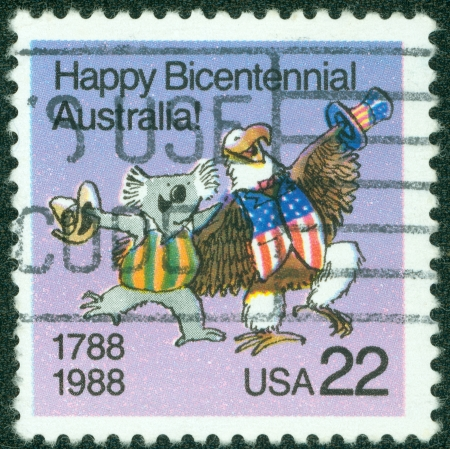 USA - CIRCA 1988  A stamp dedicated to The bicentenary of Australia was celebrated in 1970 on the 200th anniversary of Captain James Cook landing and claiming the land, circa 1988  photo