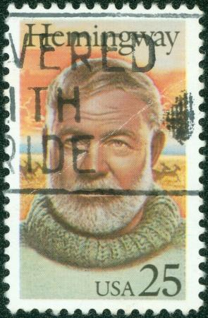 hemingway: USA - CIRCA 1994  stamp printed in USA show shows Ernest Hemingway, circa 1994 Editorial