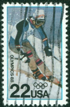 USA - CIRCA 1987  A stamp printed in the USA, dedicated to the Winter Olympics-1988, Calgary, shows Skiing, circa 1987