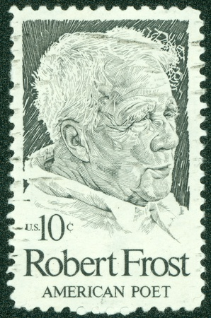 UNITED STATES - CIRCA 1974  A stamp printed by United states, shows Robert Frost, circa 1974 Editorial