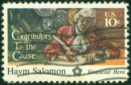 contributors: UNITED STATES - CIRCA 1975  A stamp printed in USA shows Haym Salomon, circa 1975